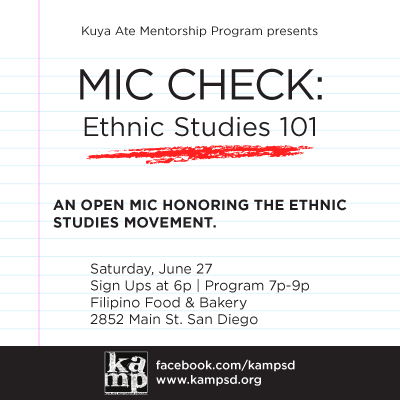 Mic Check: Ethnic Studies 101 – June 27, 6pm @ Filipino Food & Bakery